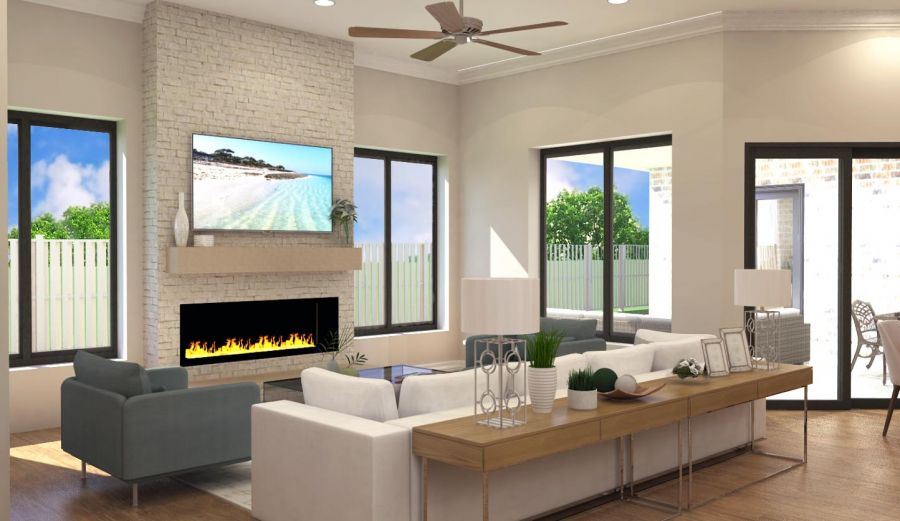 Living area with gas fireplace and doors to covered patio rendering
