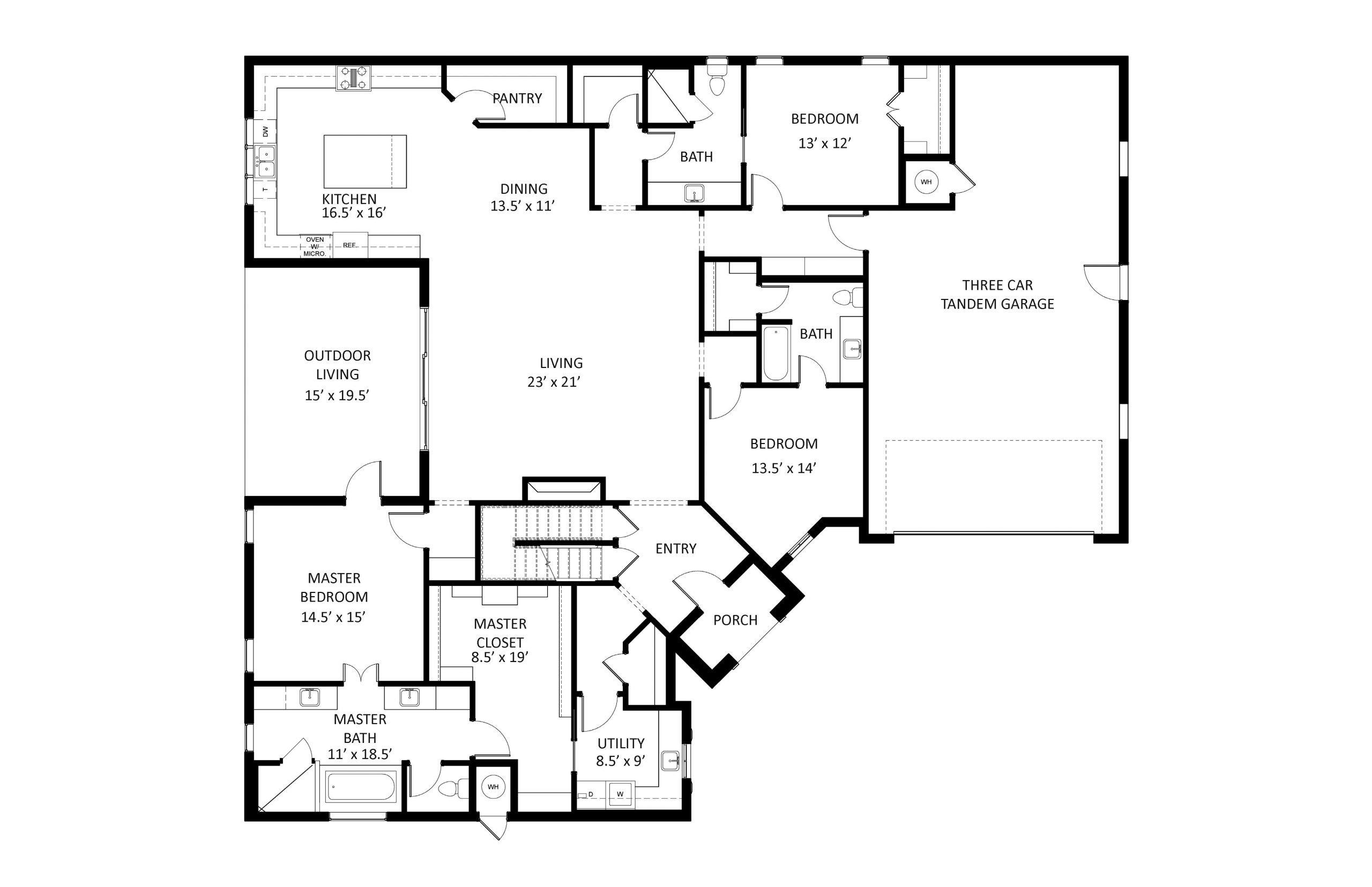 16425 Bordeaux - Corner - Labeled Floor Plan