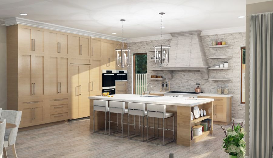 Kitchen with rustic chandler above island.