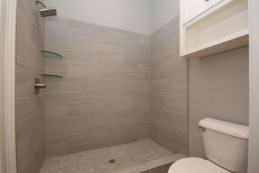 Beautiful Guest Bathroom with Grey Tile Shower