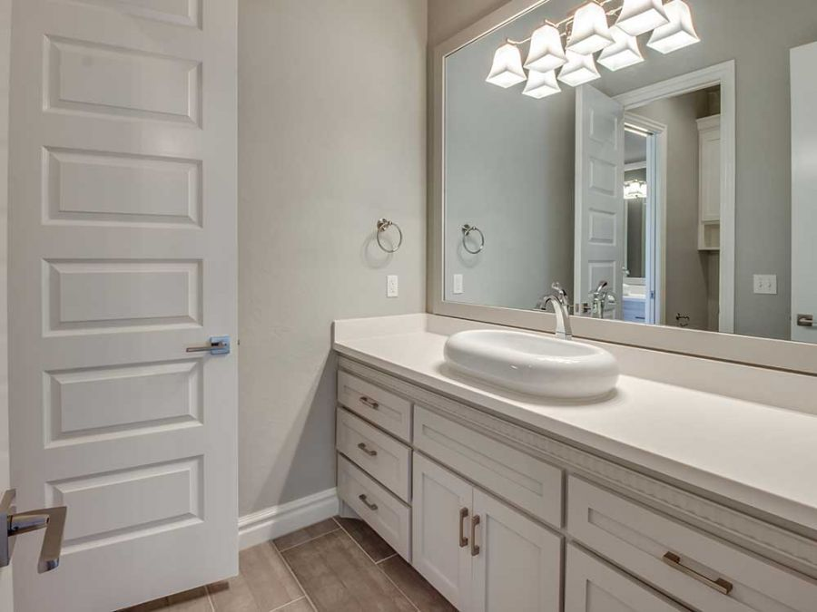 Guest bathroom with large counter space.