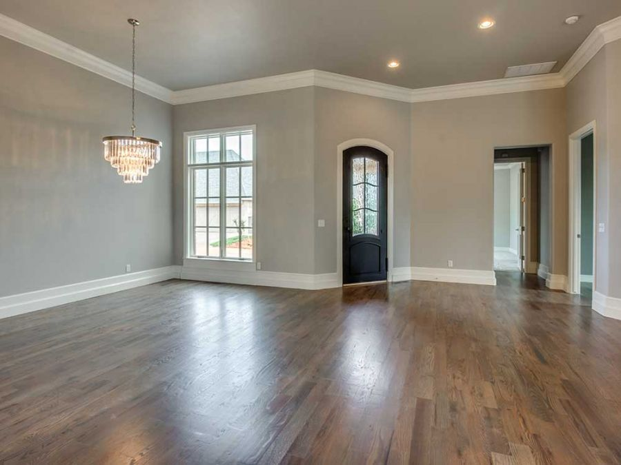 Dining area next to home entrance with lots of natural lighting.