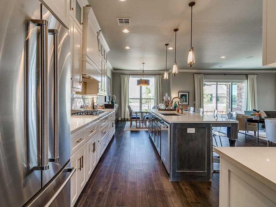 Beautiful kitchen with island, dining area and breakfast nook.